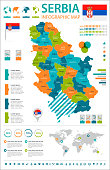 Serbia - infographic map and flag - Detailed Vector Illustration