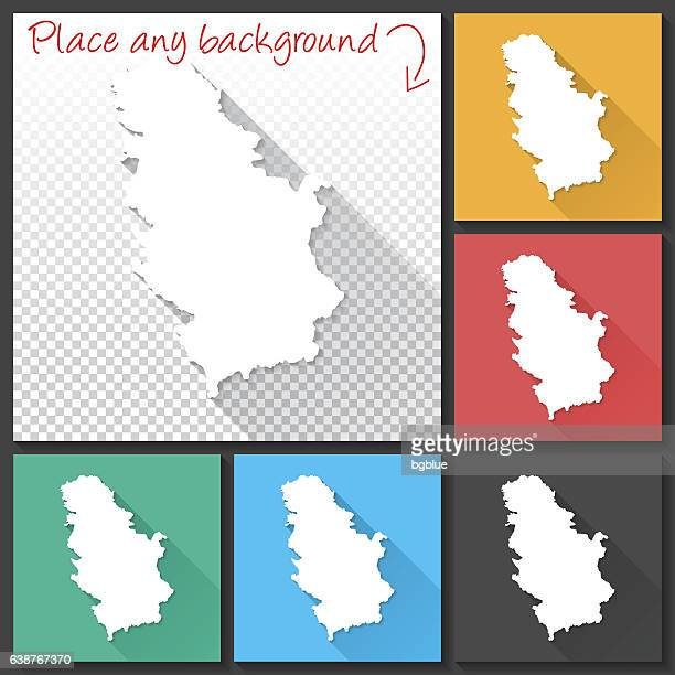 Serbia Map for design, Long Shadow, Flat Design