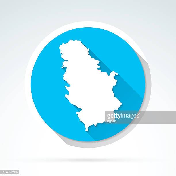 Serbia map icon, Flat Design, Long Shadow
