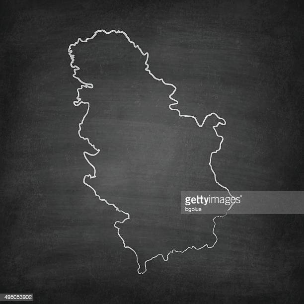 Serbia Map on Blackboard - Chalkboard