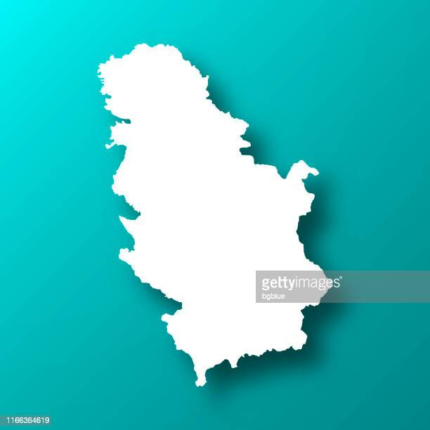 Serbia map on Blue Green background with shadow