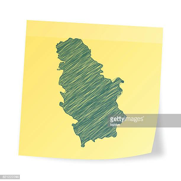 Serbia map on sticky note with scribble effect