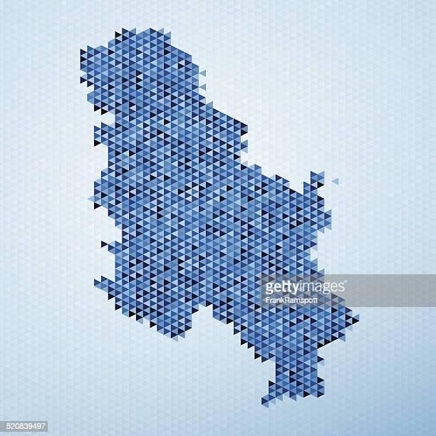 ilustraciones, imágenes clip art, dibujos animados e iconos de stock de serbia mapa patrón de triángulo azul - frank ramspott