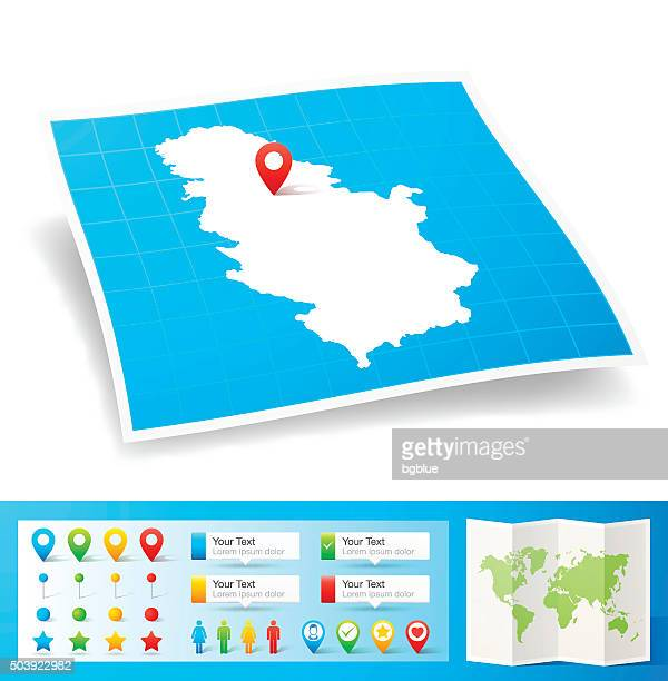 Serbia Map with location pins isolated on white Background