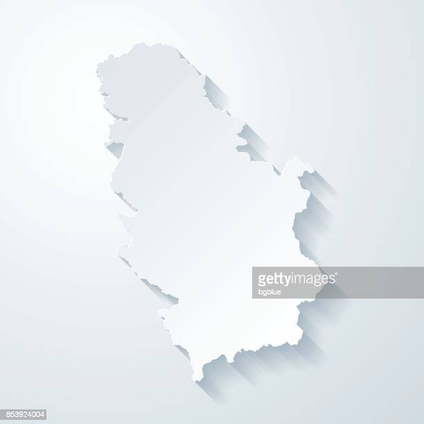 serbia map with paper cut effect on blank background - serbia stock illustrations