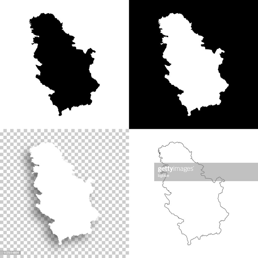 Serbia maps for design - Blank, white and black backgrounds : stock illustration