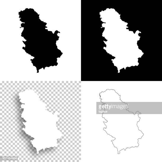 Serbia maps for design - Blank, white and black backgrounds