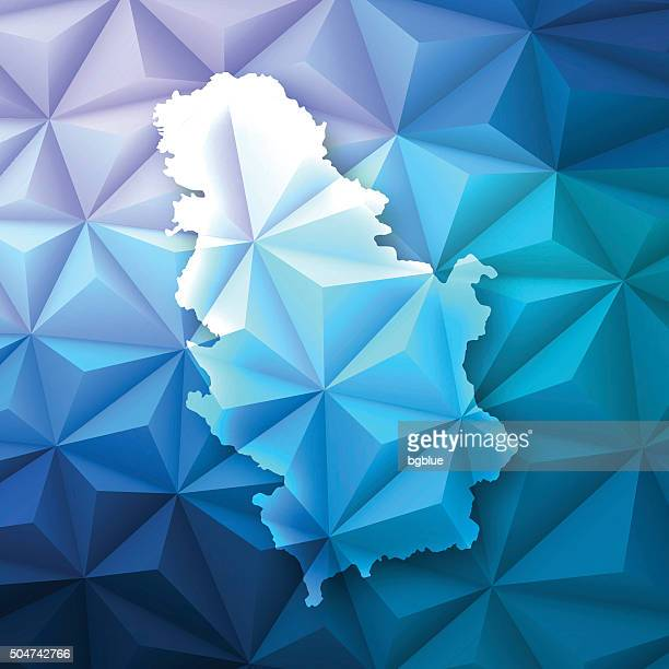 Serbia on Abstract Polygonal Background - Low Poly, Geometric