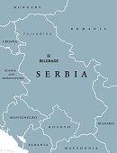 Serbia political map with capital Belgrade