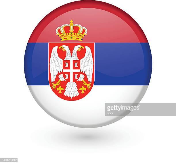 serbian flag vector button - balkans stock illustrations, clip art, cartoons, & icons