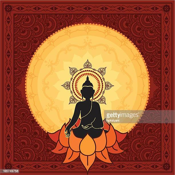 stockillustraties, clipart, cartoons en iconen met serene buddha - tibetaanse cultuur