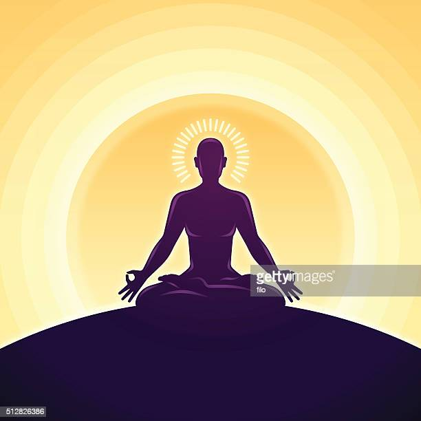 serene meditation and yoga - lotus position stock illustrations, clip art, cartoons, & icons