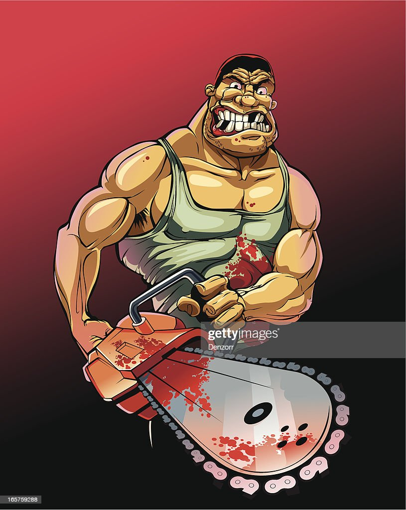 Serial maniac with chainsaw : stock illustration