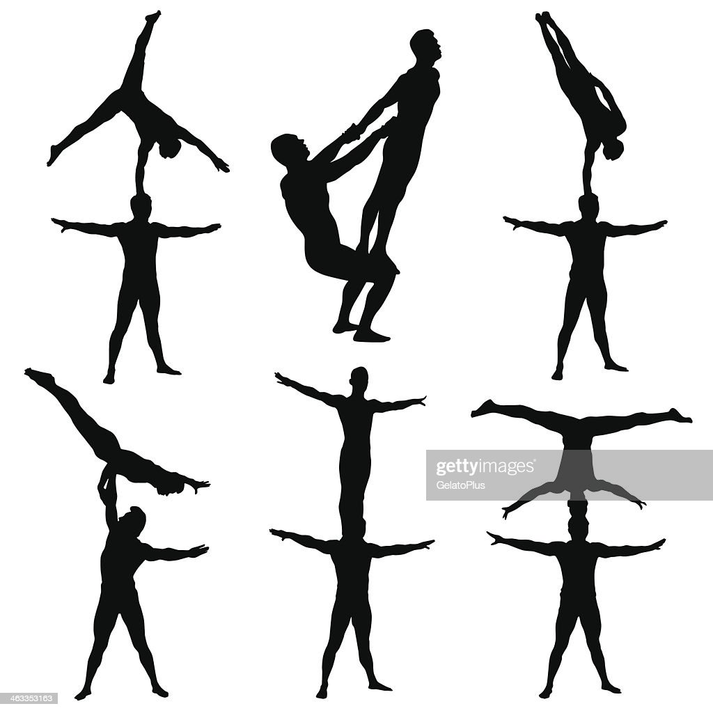 Series of acrobatics in black and white : Stock Illustration
