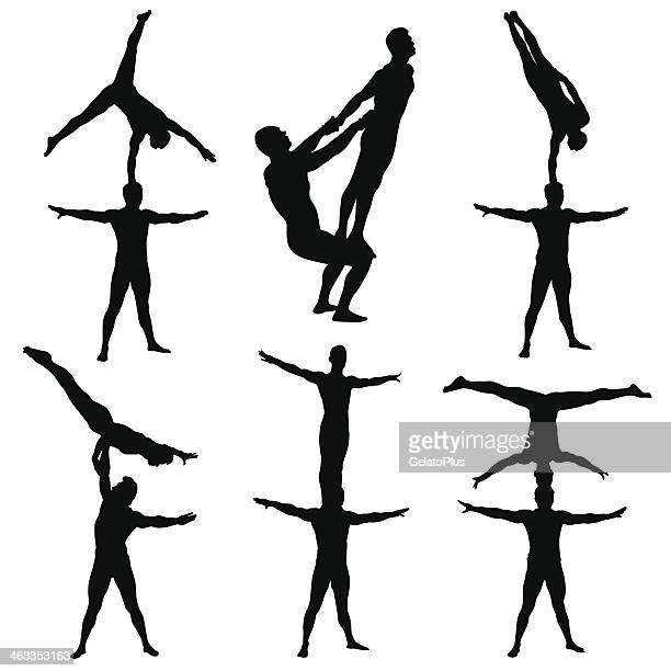 series of acrobatics in black and white - gymnastics stock illustrations, clip art, cartoons, & icons