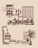 Series of backgrounds decorated with old town views
