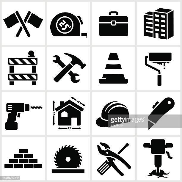 Series of black construction icons