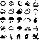 Series of black weather icons in white background