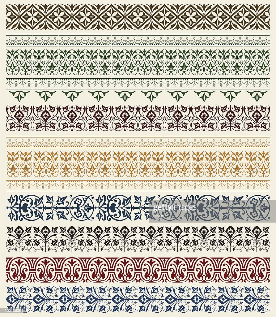 Series of border designs in various colors