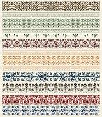Series of border designs in various colors
