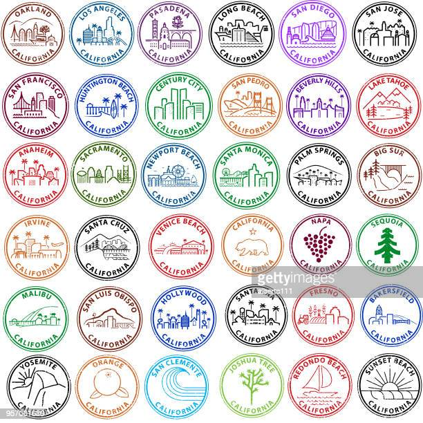 series of california cities and locations in stamp form - beverly hills california stock illustrations
