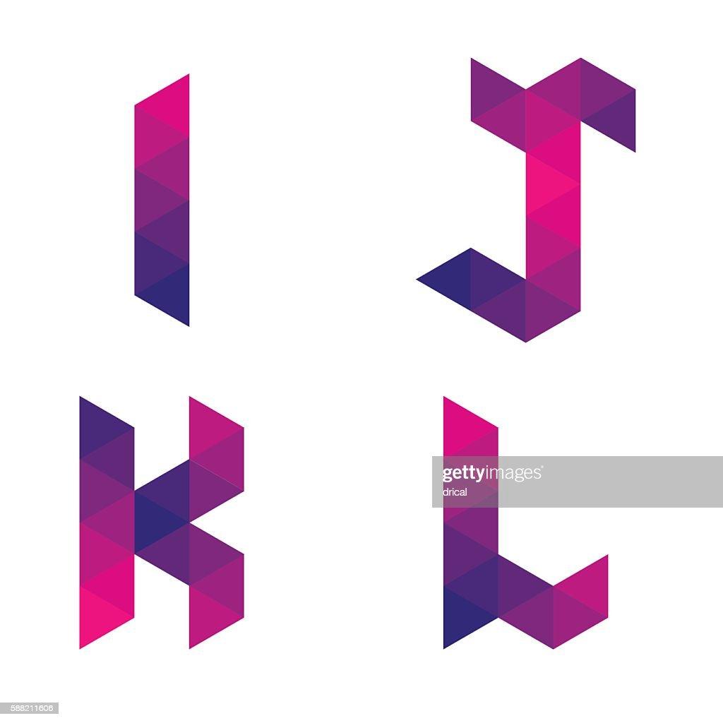 Series of geometric letters i, j, k, l
