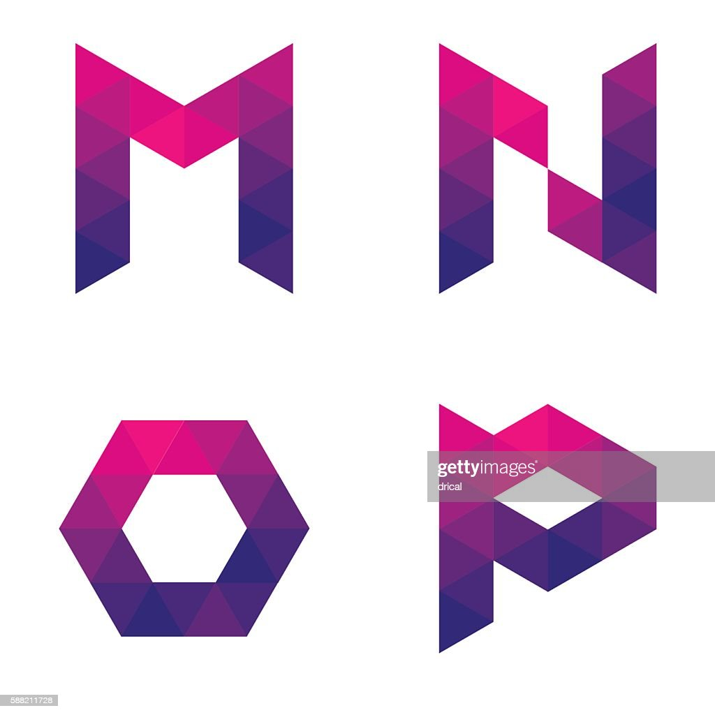 Series of geometric letters m, n, o, p