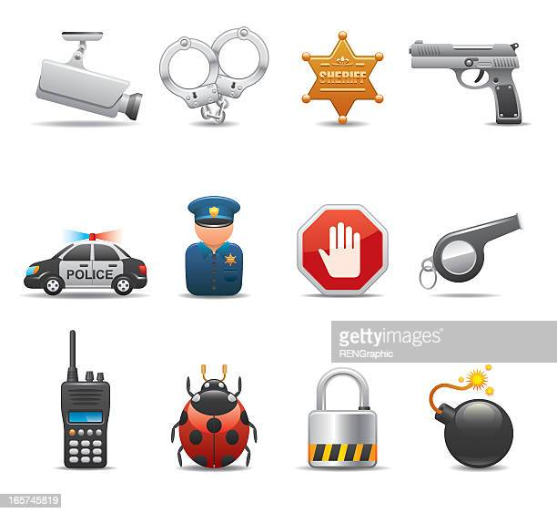 Series of icons featuring security elements on white