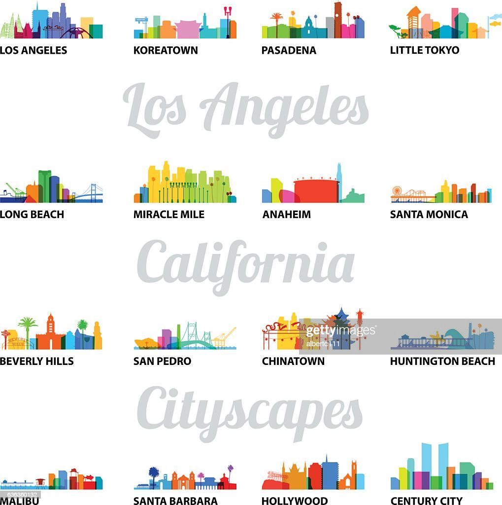 Series of Los Angeles related cityscapes : stock illustration