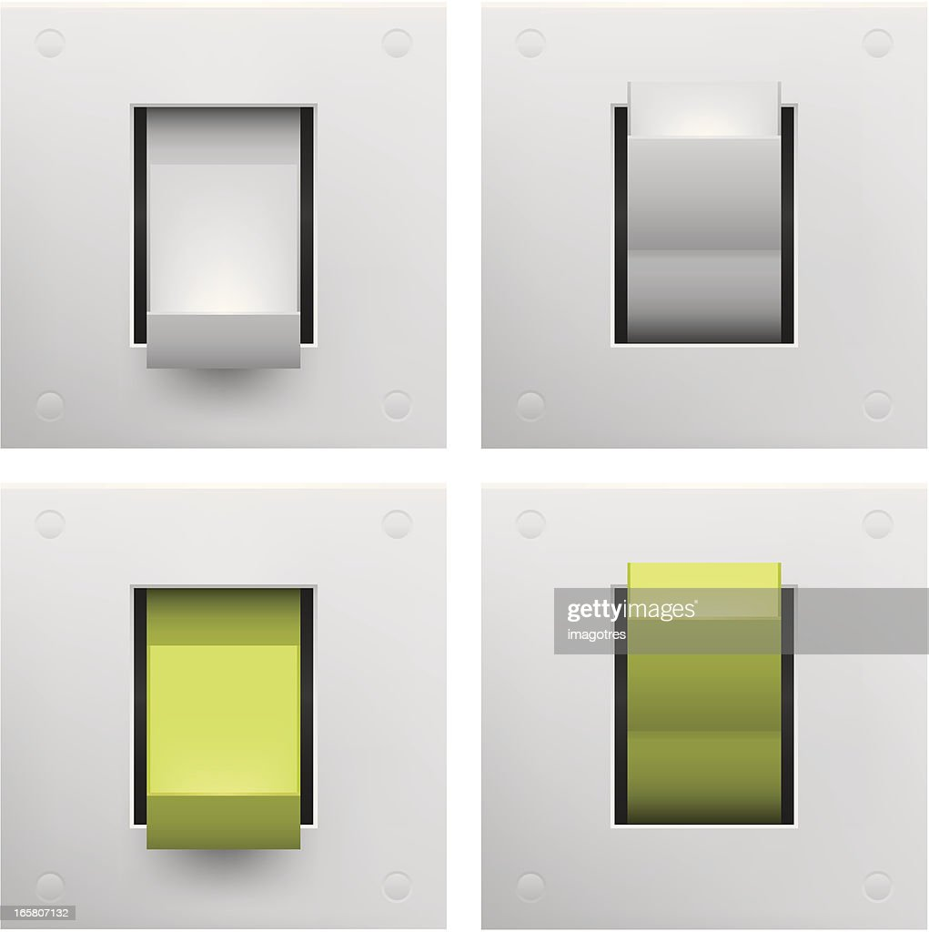 A series of square on and off switches