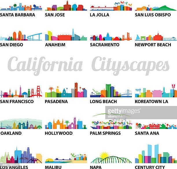 bildbanksillustrationer, clip art samt tecknat material och ikoner med series of stylized california cityscapes - hollywood kalifornien