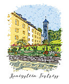 Series of vacation travel invitations card or flyers with calligraphic writing. Kenigstein Fortress, the Saxon Bastille, fortress near Dresden, in Saxon Switzerland, Germany, ink drawing imitation.