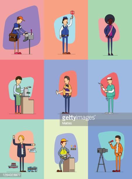 ilustrações, clipart, desenhos animados e ícones de série de trabalhadores realizando sua tarefa diária em comunidades, setores públicos e setores privados - entregador
