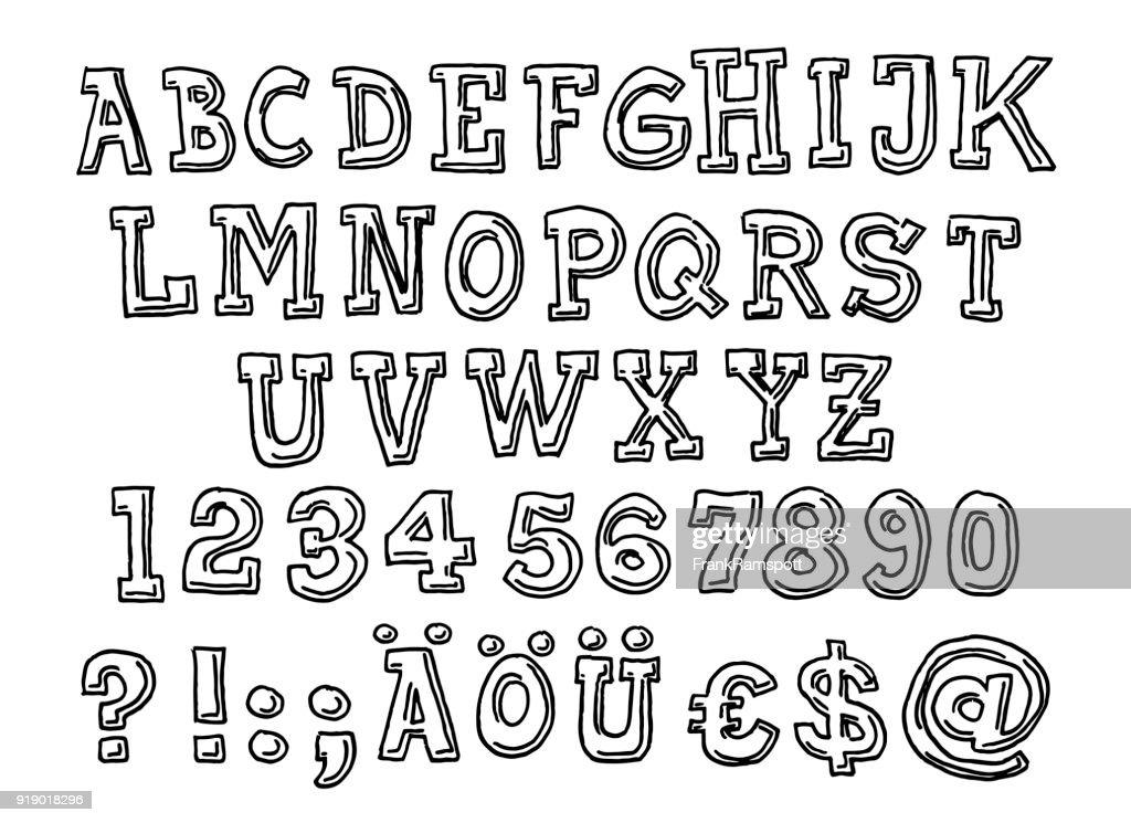 Serif Alphabet Briefpapier Set zeichnen : Stock-Illustration