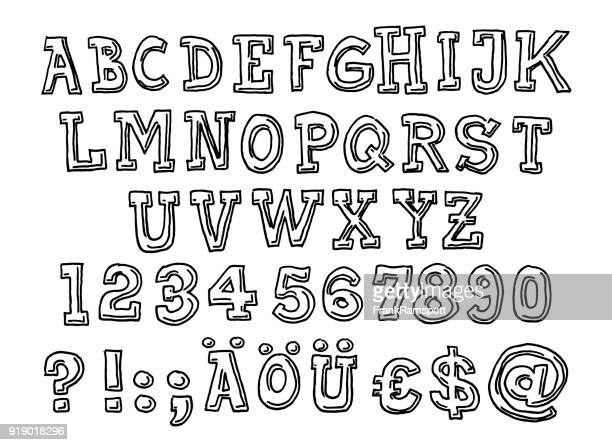 serif alphabet letter set drawing - pen and ink stock illustrations