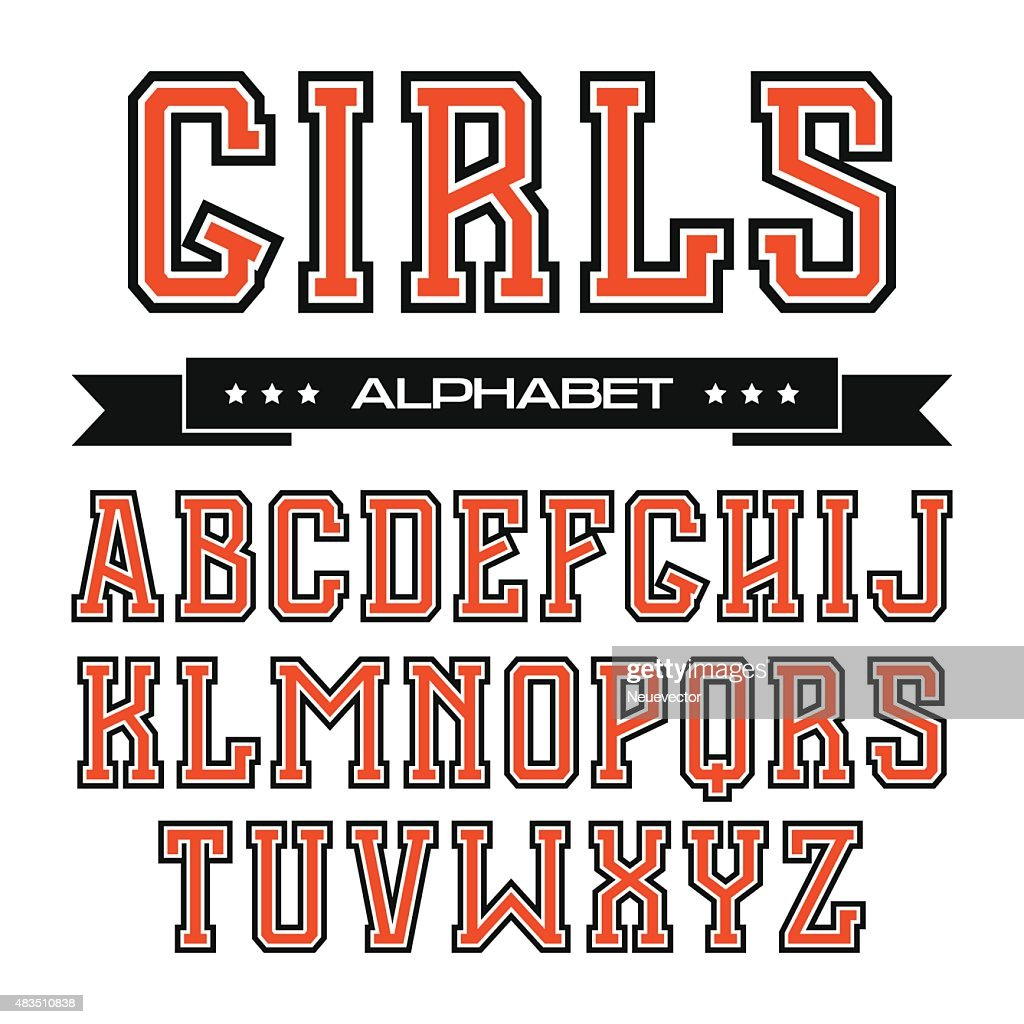 Serif font in the style of college