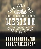 Serif font in the western style with hand-drawn soft shape