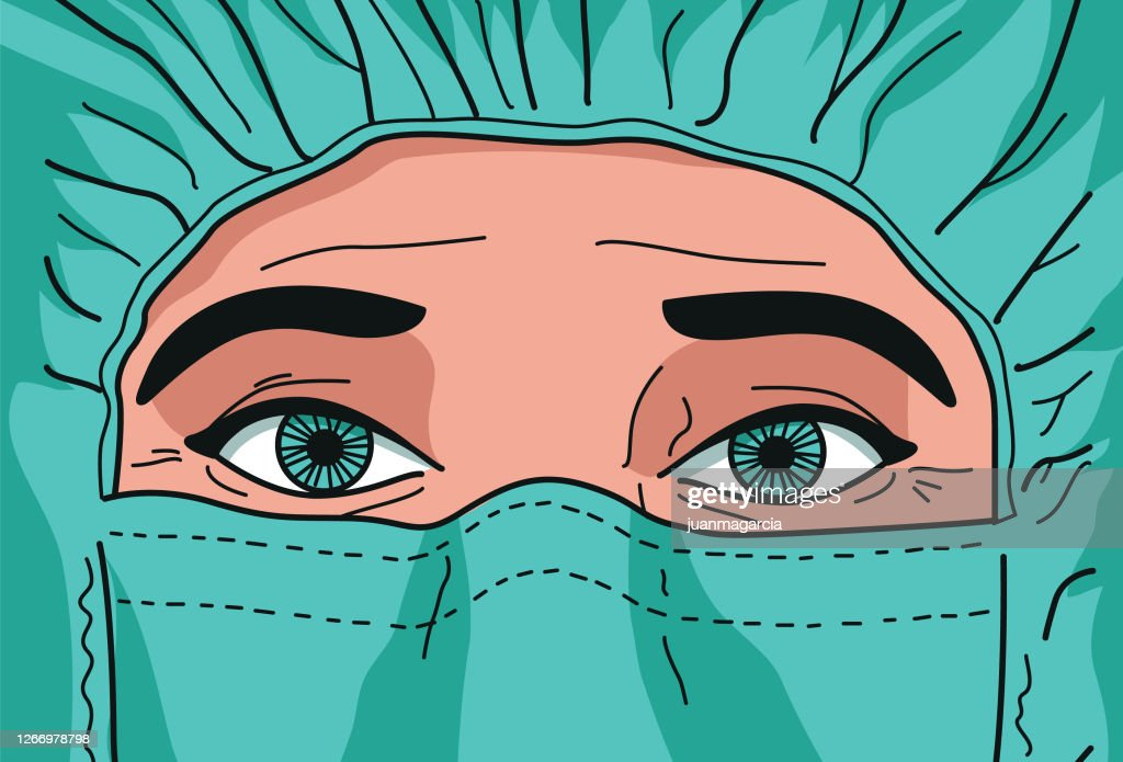 Ernste und traurige Krankenschwester oder Arzt im Kampf gegen CODIV-19 : Stock-Illustration