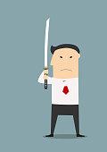Serious businessman with katana sword