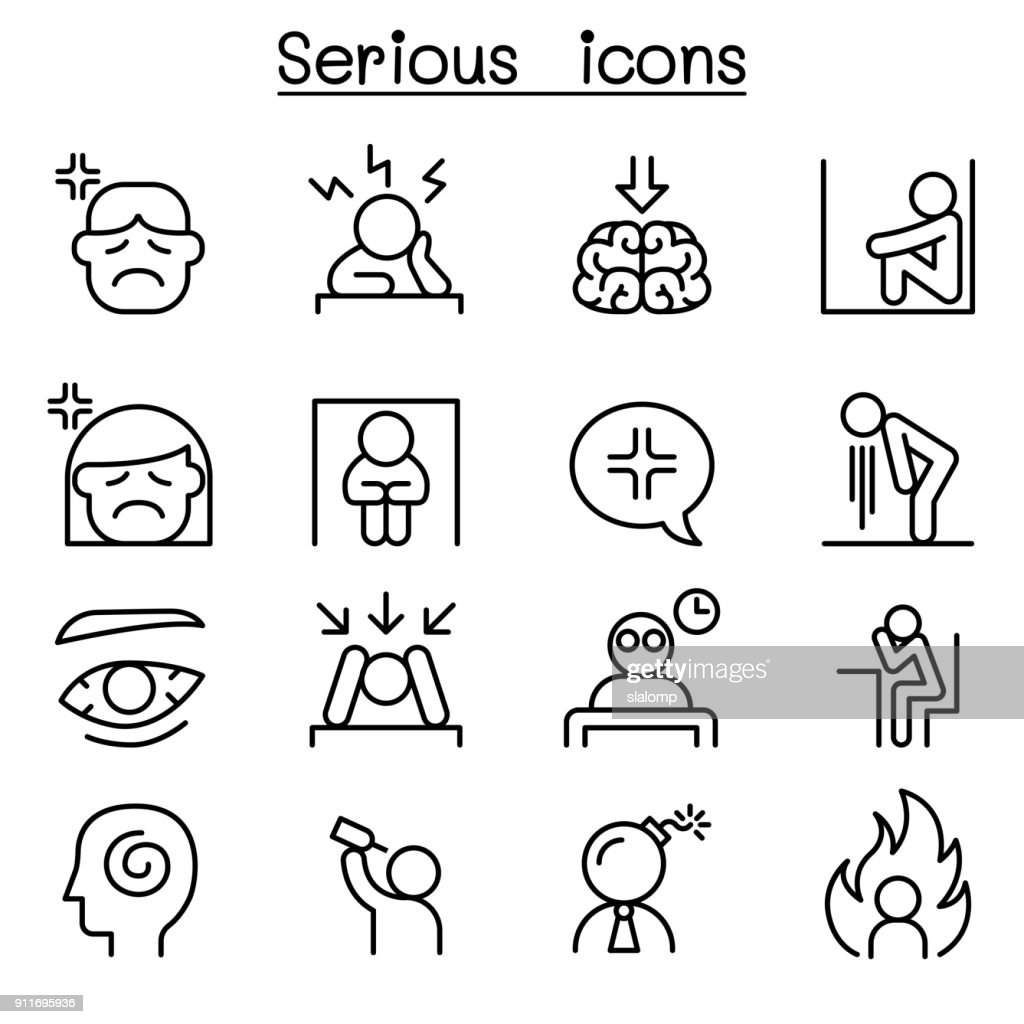 Serious icon set in thin line style
