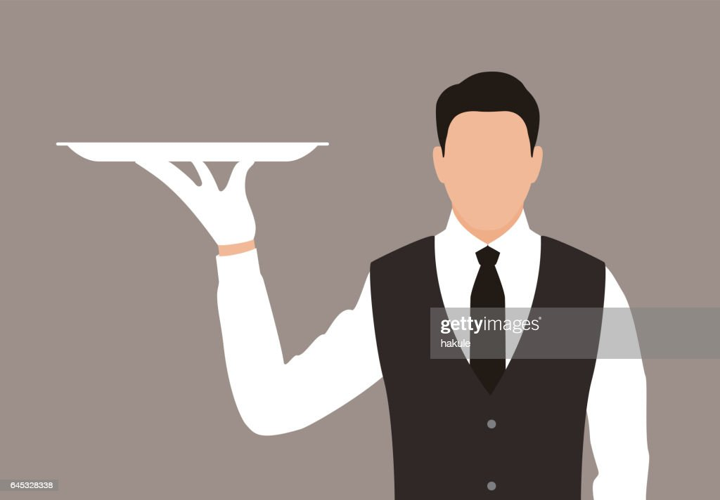 servant holding a tray, the plate is empty : stock illustration