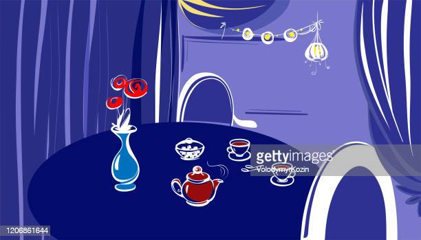 served in vintage style table for two in the restaurant - breakfast cartoon stock illustrations