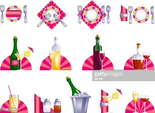 serve-icon-set - cognac region stock illustrations, clip art, cartoons, & icons