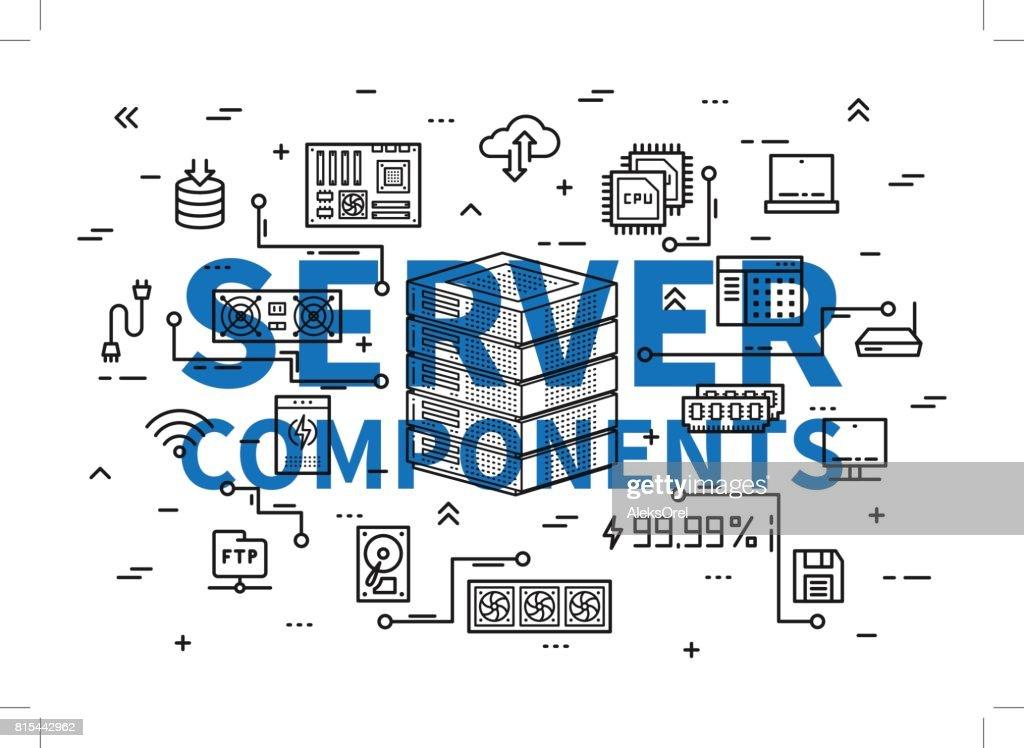 Server components vector illustration