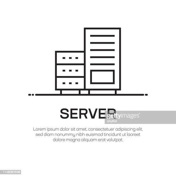 illustrazioni stock, clip art, cartoni animati e icone di tendenza di icona linea vettoriale server - icona semplice linea sottile, elemento di progettazione di qualità premium - centro elaborazione dati