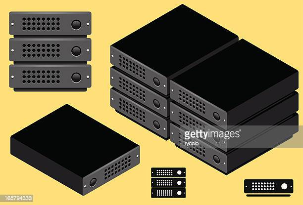 servers - front, isometric and icon - hard drive stock illustrations, clip art, cartoons, & icons
