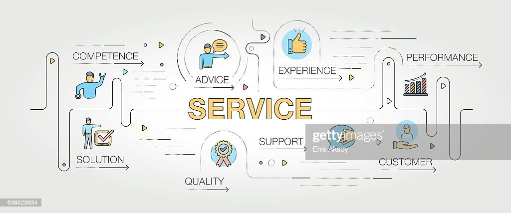 Service banner and icons : stock illustration
