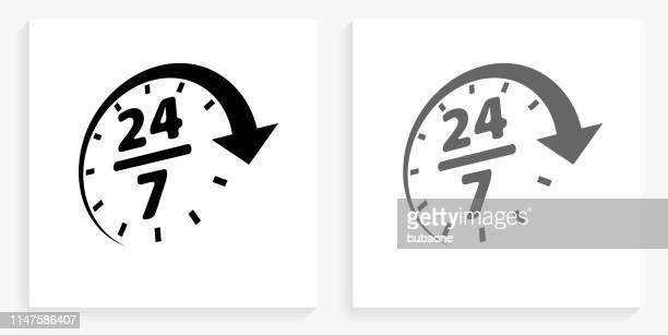 24/7 サービス黒と白の正方形のアイコン - 24時間営業点のイラスト素材/クリップアート素材/マンガ素材/アイコン素材