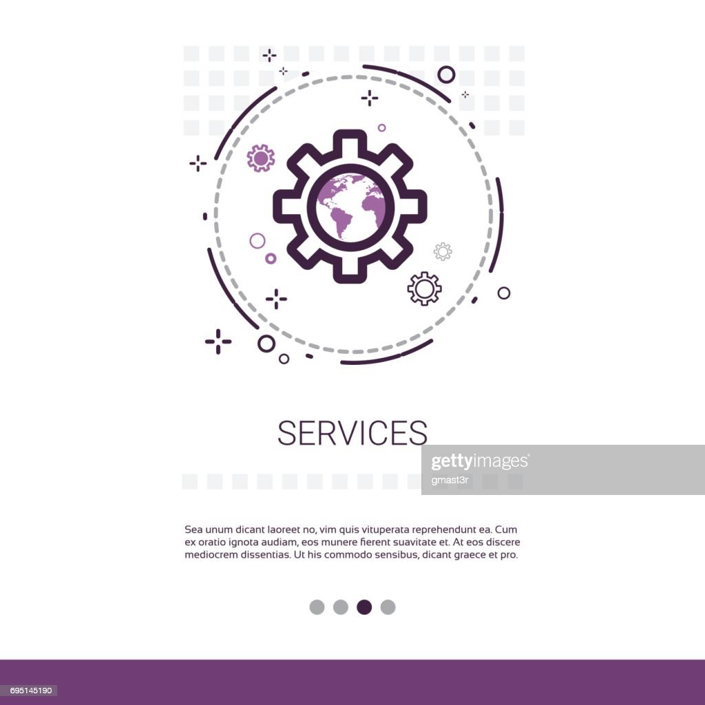 Service Cogwheel Support Technology Banner With Copy Space