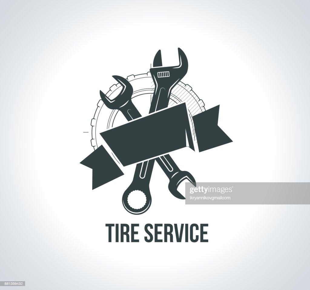 Service concept. Black tire icon. Icon for tire service